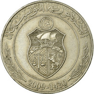 Monnaie, Tunisie, Dinar, 2009/AH1430, Paris, TTB, Copper-nickel, KM:347 - Tunisie