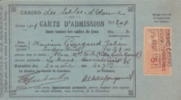 CARTE D'ADMISSION Casino Des Sables D'olonnes ((TRES RARE)),et Monte Carlo,tres Courant ,LOT DE 3 CARTES 1919/21 - Biglietti D'ingresso