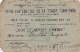 Federation Des Amputés De Guerre De France ,avec Vignettes De 1946/1955,surement Tres Rare ,mauvais Etat - Documents Historiques