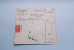 F. Van NULAND WISSELAGENT BORGERHOUT Antwerpen > BORDEREEL Anno 1929 ( Zie Foto's ) 1 Stuk ! - Banca & Assicurazione