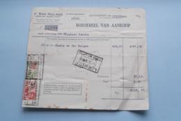 F. Van NULAND WISSELAGENT BORGERHOUT Antwerpen > BORDEREEL Van Aankoop Anno 1932 ( Zie Foto's ) 1 Stuk ! - Banca & Assicurazione