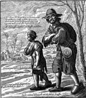Gravure Ironique Proverbes De LAGNIET Jacques 1663  Le Paysan  Ancien Régime Misère L'habit Des Gueux Vagabond - Autres Collections