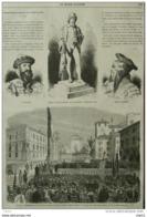 Inauguration à Feltre De La Statue De Panfilo Castaldi - Gutemberg - Faust Et Schffer - Page Original 1868 - Documentos Históricos