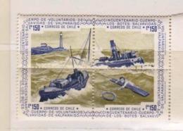 4 TIMBRES CHILI DE 1975 - CINQUANTENAIRE DU CORPS DES SAUVETEURS EN MER DE VALPARAISO (2457)_Ti1572 - Chili