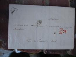 Lettre 1833 E PP PORT PAYE Cachet Rouge  Pour Marquise De Donnissan Lettre Ciculaire Achat Titre Action Chemin Fer Loire - Storia Postale