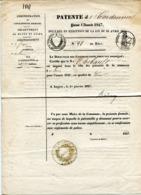 MAINE ET LOIRE De SEGRE Patente Pour Un Cordonnier Du LION D ANGERS De 1847 - Manuscrits