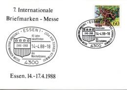 """(Bu-B1) BRD Sonderkarte """"7. Internationale Briefmarken-Messe Essen"""" EF BRD Mi 1356 SSt 144.1988 ESSEN 1 - BRD"""