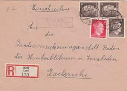 Einschreiben Kehl Land/Honau 1943 Nach Karlsruhe - Deutschland