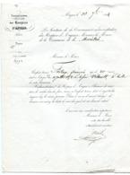 MAINE ET LOIRE De ANGERS Lettre De La Commission Des Hospices Du 30/09/1854 ( Verso Vierge) - Manuscrits