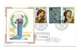 1970 - Vaticano 492/94 Anniversario ONU       FDC - ONU