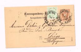 Entier Postal à 2 Heller.Expédié De Karlin à Liège (Belgique) - Ganzsachen