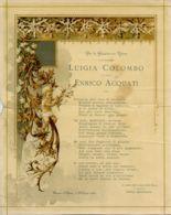 RIC 41 - DIPLOMA CON POESIA AUGURALE PER LE NOZZE - 1894 - DIMENSIONI Cm. 20.5x26 - Religione & Esoterismo