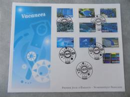 Premier Jour (FDC) Grand Format France 2007 : Vacances (série Complète) - 2000-2009