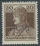1918-19 FIUME CARLO E ZITA 20 F SOPRASTAMPA A MACCHINA MH * - UR45-9 - 8. Occupazione 1a Guerra
