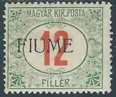 1918-19 FIUME SEGNATASSE 12 F SOPRASTAMPA A MACCHINA MH * - UR45-9 - Fiume