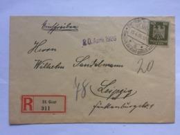 GERMANY 1926 Registered St. Goar Cover With Sonderstempel To Leipzig - Deutschland