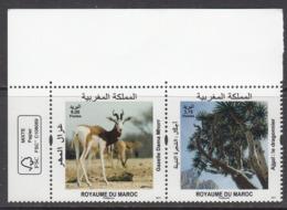 2017 Morocco Maroc Flora Fauna Gazelle Tree Arbre Complete Pair MNH - Morocco (1956-...)
