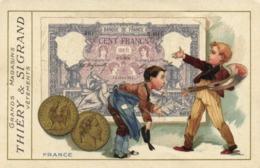 Illustration Rerpresentation Monnaie FRANCE  CENT FRANCS Grand Magasins THIERRY & SIGRAND  Vetements RV - Monnaies (représentations)