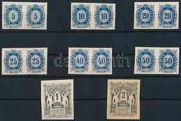 (*) 1874 Távirda Sor, Fogazatlan Próbanyomatok Kartonpapíron, A Krajcáros értékek Párokban + A 2 Záróérték / Telegraph S - Sin Clasificación