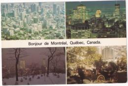 Bonjour De Québec - Vue Aérienne De Montréal, Lumières, Soir D'hiver, Tour De Calèche Sur Le Mont-Royal - (Canada) - Montreal
