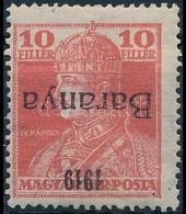 * Baranya I. 1919 Károly 10f Fordított, Antikva Felülnyomással és Bodor Vizsgálójellel,R! (88.000) - Sin Clasificación