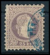 O 1867 25kr Barnásibolya Bélyeg Kék Pénzutalvány Bélyegzéssel (70.000) (bal Felső Sarkon Előoldali Horzsolás) - Sin Clasificación