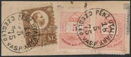 1875 Vegyes Bérmentesítésű Kivágás Vöröses Színárnyalatú Réznyomat 15kr + Színesszámú 5kr Pár Bélyegekkel 'PÉNZ UTALVÁNY - Sin Clasificación