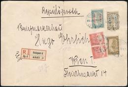 1918.07.10. Repülő Posta Sor + 2,20K Kiegészítő  Bérmentesítés 4. Súlyfokozatú Ajánlott Légi Levélen Bécsbe (min 60.000) - Sin Clasificación