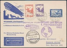 1932 Zeppelin 1. Dél-amerikai Repülés Légi Levelezőlap Argentínába - Sin Clasificación