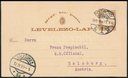 1910 1874-es Kiadású Díjjegyes Levelezőlap Hátoldali Felülnyomással, 1910-ben Pozsonyból Salzburgba Küldve, Portózás Nél - Sin Clasificación