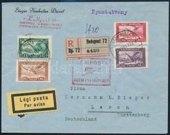 1927 Ajánlott Légi Levél Németországba - Sin Clasificación