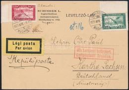 1929 Légi Levelezőlap Németországba - Sin Clasificación