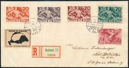 1940 Árvíz (II.) Sor + Blokkból Kitépett Zöld 20f! Ajánlott Levélen 'BUDAPEST' - 'NEW YORK' Igen Ritka Darab! - Sin Clasificación