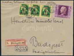 1945 (2. Díjszabás) Távolsági Ajánlott Levél Házi Készítésű Ajánlási Ragjeggyel Kisegítő 3 X 1P/1P + Horthy 5P Bérmentes - Sin Clasificación