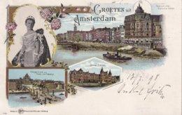 PAYS-BAS 1898 CARTE POSTALE GROETEN UIT AMSTERDAM - Amsterdam