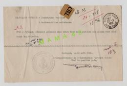 62 - BOULOGNE - MARINE - TELEGRAMME OFFICIEL - INSCRIPTION MARITIME  A GARDE MARITIME AMBLETEUSE - MINE A CAP GRIS NEZ - Telegraaf-en Telefoonzegels