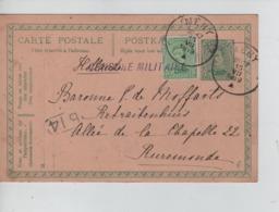 PR7106/ Entier CP 52 + TP 137 C.Méry 1919 Griffe CENSURE MILITAIRE Mauve > Ruremonde Hollande - Stamped Stationery