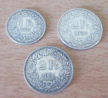 Suisse - Lot De 3 Monnaies En Argent : 1 Franc 1907, 2 Francs 1920, 2 Francs 1921 - Suisse