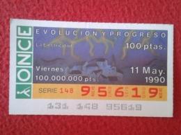 SPAIN CUPÓN DE ONCE LOTTERY LOTERÍA ESPAÑA 1990 EVOLUCIÓN Y PROGRESO EVOLUTION AND PROGRESS LA ELECTRICIDAD ELECTRICITY - Billetes De Lotería