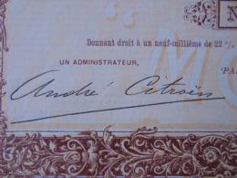 """FRANCE - PARIS 1909 - STE D'AUTOMOBILES  """" MORS """" - PART BENEFICIAIRE : SIGNATURE IMPRIMEE DE : """" ANDRE CITROEN """" - Acciones & Títulos"""