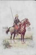 GUERRE 14-15::CPA   : La Grande Guerre Aout  1914- Dragons-cavaliers Françaiss  Par Hingre - Regimente
