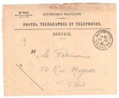 MATHIEU Calvados Enveloppe De SERVICE N° 819 Franchise Ob 1935 Recette Distribution Cercle Pointillé Lautier B4 - Marcophilie (Lettres)