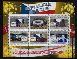 GUINEE  Feuillet N° 3342/46 * * ( Cote 9e )  Euro 2008 Football  Soccer  Fussball Trains  Franz Viehbock Espace Tchequie - Europei Di Calcio (UEFA)