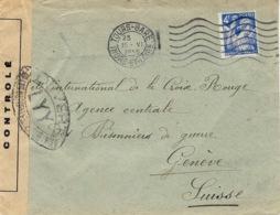 1945- Enveloppe De Tours Affr. N°656 SEUL Avec Censure LYY   Pour Genève - Marcofilie (Brieven)