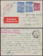 BELGIQUE 2Fr50 +COB 771 X2 EN EXPRES DE BRUXELLES 05/07/1949 VERS LONDRES (DD) DC-4075 - 1948 Export