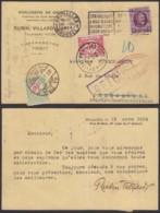 BELGIQUE COB 195 SUR CARTE TAXE 30c VERS LUXEMBOURG TAXE 10c ET DEBOURSE ET RETOUR  R (DD) DC-4076 - 1922-1927 Houyoux