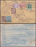 BELGIQUE COB 201 SUR CARTE TAXE 1 Fr30 VERS FRANCE ET TAXE 1Fr15 DOUBLE TAXE (DD) DC-4077 - 1922-1927 Houyoux