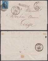 """BELGIQUE  COB 11 SUR LETTRE OBL AMBULANT """"EST Nº1"""" 01/03/1859 GRIFFE """"BRUELLES"""" VERS LIEGE  (DD) DC-4081 - 1858-1862 Médaillons (9/12)"""