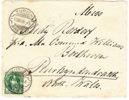 1899 Brief Aus Zürich Nach Penrhyndeudraeth, Wales; Frankiert 25 Rp. Stehende Helvetia Grün, Rasierklingen Stempel; - Lettres & Documents