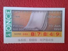 SPAIN CUPÓN DE ONCE LOTTERY LOTERÍA ESPAÑA 1990 EVOLUCIÓN Y PROGRESO EVOLUTION AND PROGRESS EL PAPEL THE PAPER LE PAPIER - Billetes De Lotería